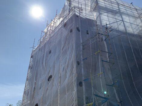 Fasadarbete under produktion